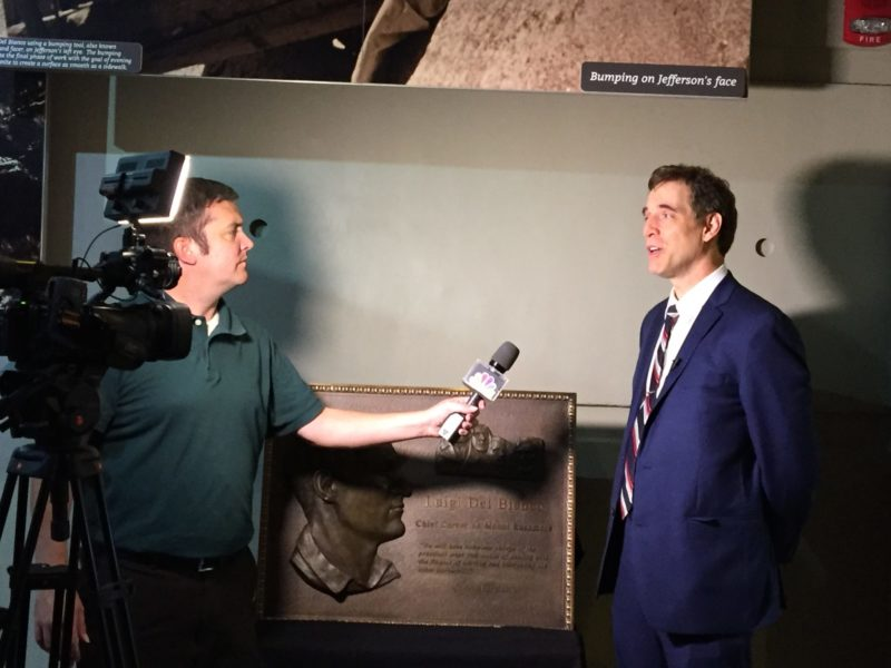 Lou Del Bianco being interviewed after the plaque unveiling ceremony (Photo by Anthony Fasano)